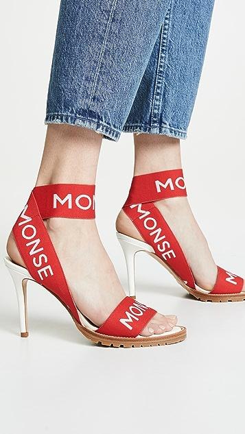 Monse Сандалии на каблуке «MONSE» с эластичным ремешком