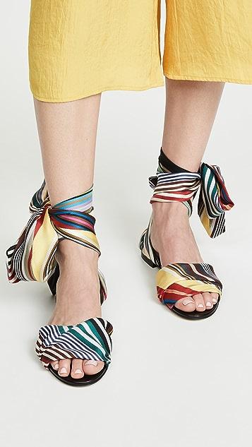 Monse Rainbow Ankle Wrap Flat Sandals