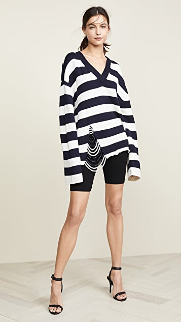 Monse Front Pearl V Neck Sweater