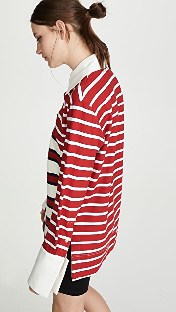 Monse Striped Twisted Rugby Top