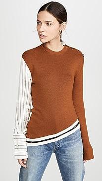 Pinstripe Sleeve Knit Sweater