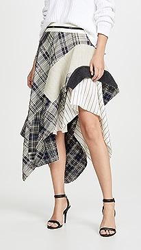 Draped Plaid Jacket Skirt