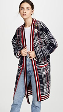 Plaid Neck Tie Long Cardigan