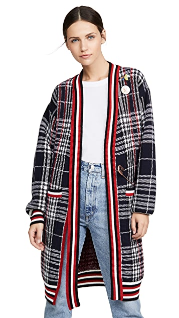 Monse Plaid Neck Tie Long Cardigan
