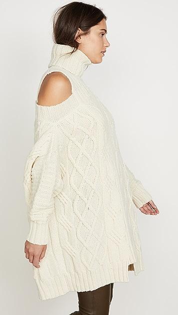 Monse Cold Shoulder Fisherman Sweater
