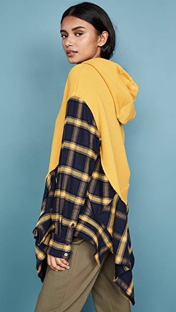 Monse Flannel Cascade Hoodie