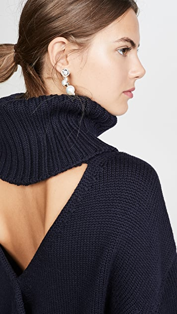 Monse Open Back T Neck Sweater