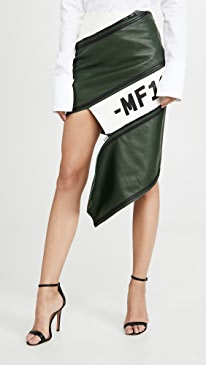 Asymmetrical Leather Zip Miniskirt