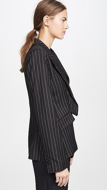 Monse Two Tone Pinstripe Asymmetrical Blazer