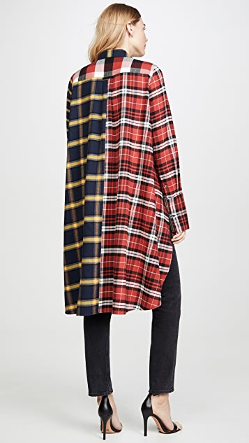 Monse Multi Plaid High Low Shirt
