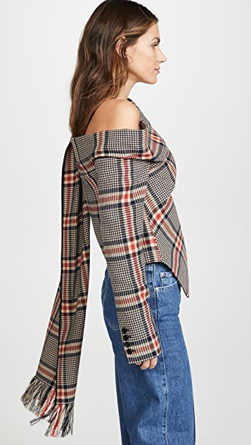 Monse Plaid Shawl Top
