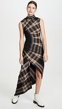 Plaid Pleated Sleeveless Dress