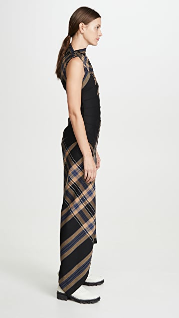 Monse Plaid Pleated Sleeveless Dress