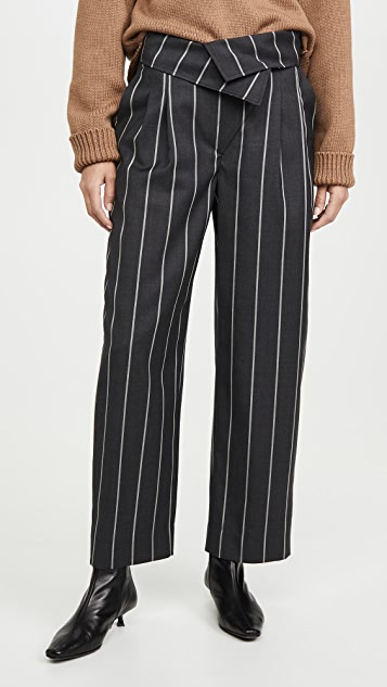 Monse Pinstripe Fold Over Pants