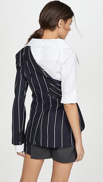Monse 细条纹西装外套府绸拼接上衣