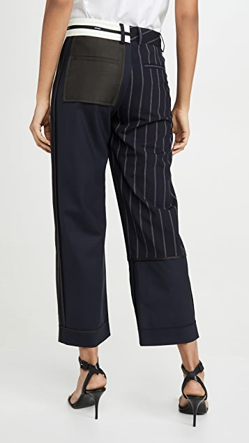 Monse Pinstripe Inside Out Patchwork Pants
