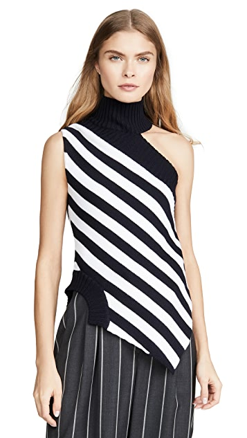 Monse One Shoulder Striped Turtleneck Top