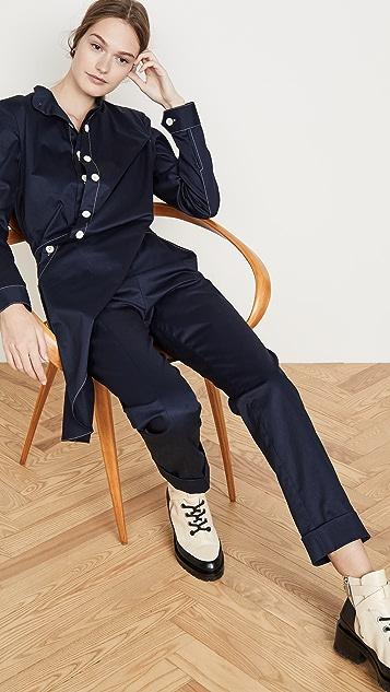 Monse 斜纹织物撞色缝线连身衣