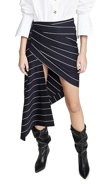 Monse Pinstripe Wrapped Skirt