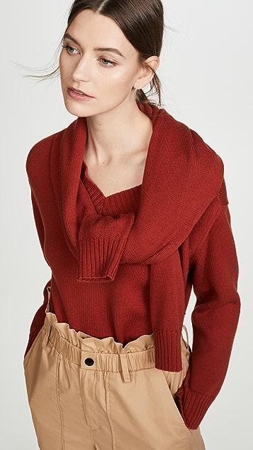 Monse Tie Neck Cold Shoulder Sweater