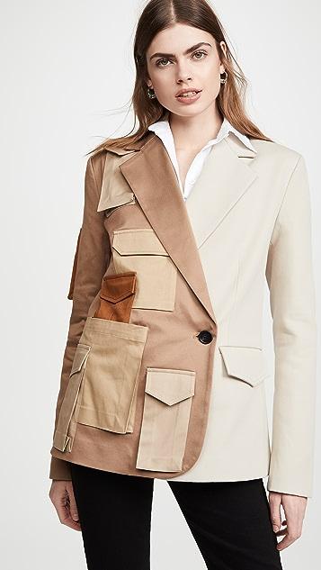 Monse Multi Color Patch Pocket Two Pocket Blazer