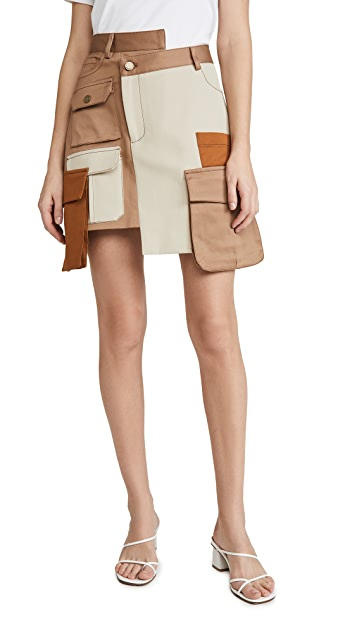Monse Multi Color Patch Pocket Miniskirt