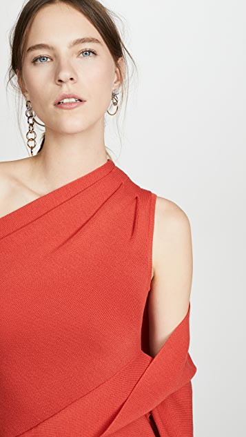 Monse One Shoulder Drape Knit