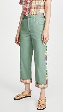 Basket Weave And Fringe Cropped Pants