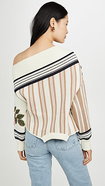 Monse Upside Down Floral Intarsia Patch Sweater