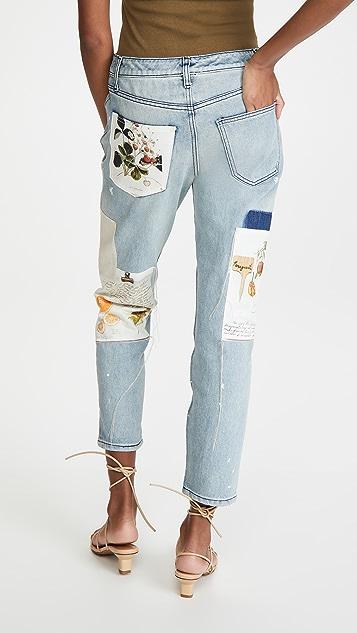 Monse Paint Splatter Botanical Patch Jeans