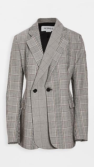 Monse 多色格子双层西装外套