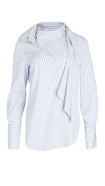 Monse Stripe Poplin Twisted Scarf Shirt
