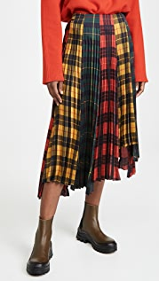 Monse Tartan Pleated Step Skirt
