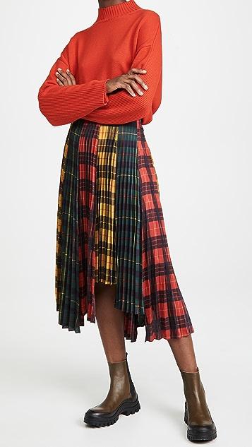 Monse 苏格兰格呢褶皱交叠半身裙