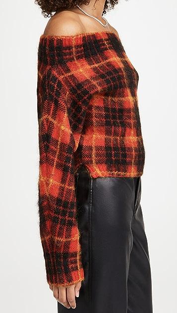 Monse Plaid Off Shoulder Mohair Sweater