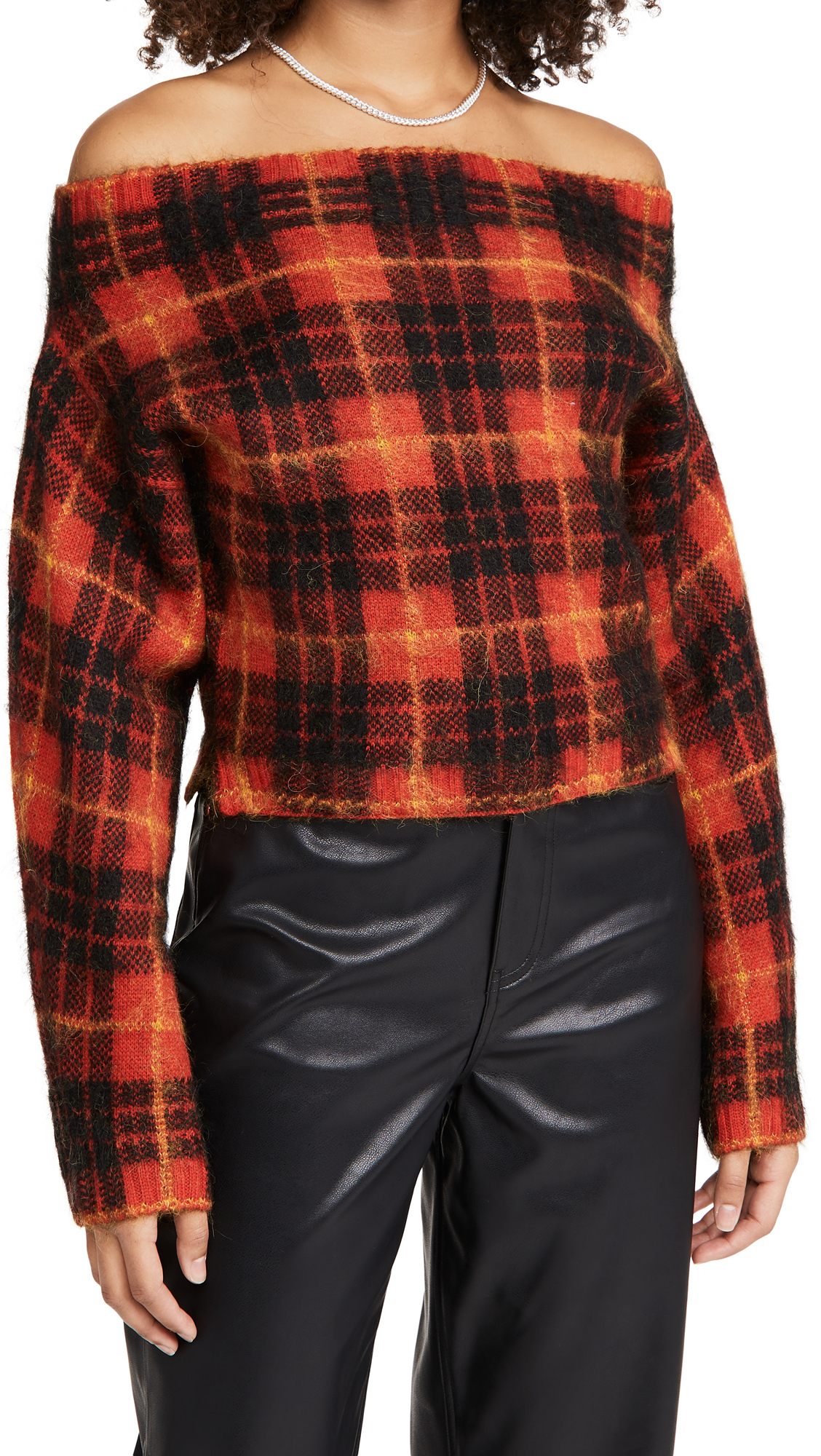 Monse Plaid Off Shoulder Mohair Sweater