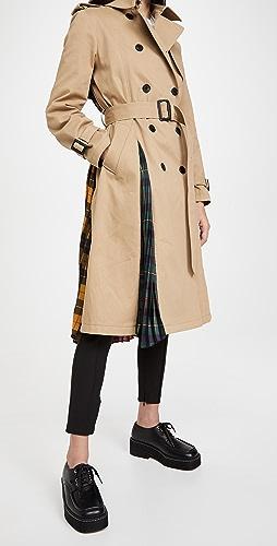 Monse - 多色苏格兰格呢褶皱背部风衣