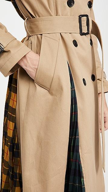 Monse 多色苏格兰格呢褶皱背部风衣