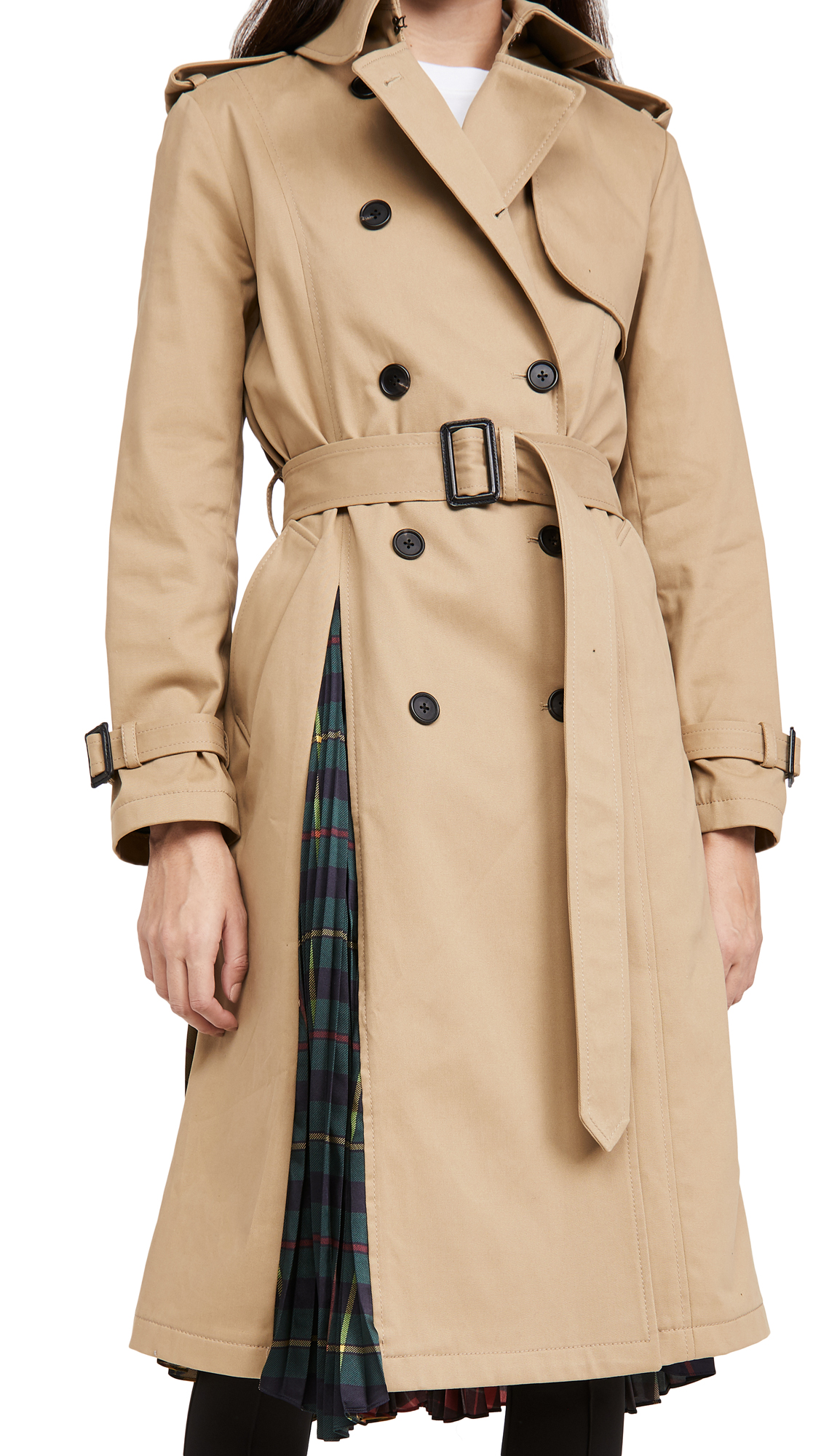 Monse Multi Tartan Pleated Back Trench