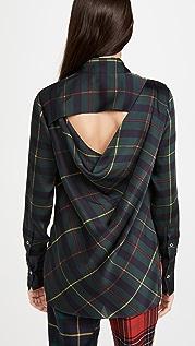 Monse 垂褶露背格子图案女式衬衫
