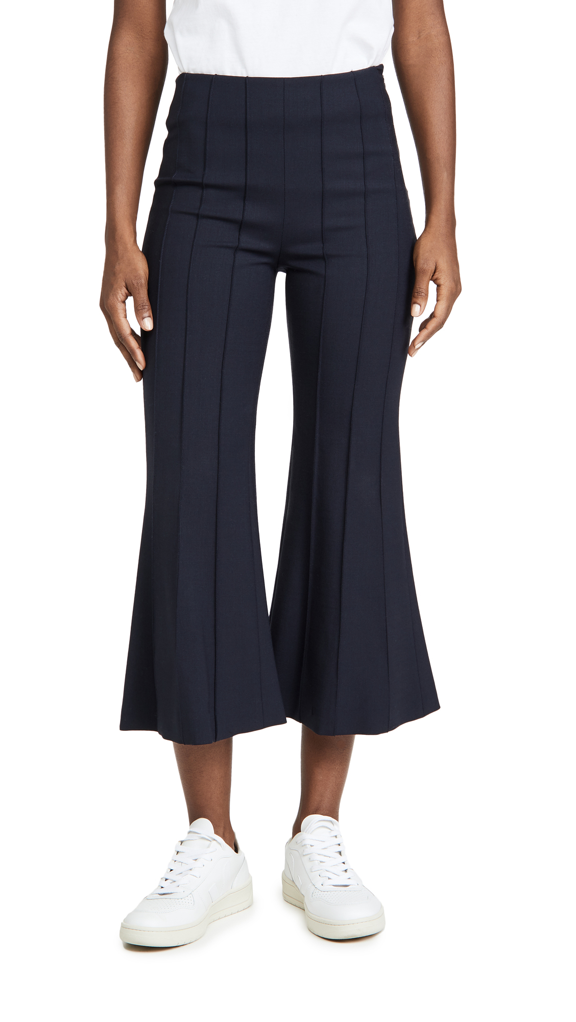Monse Wools CROPPED FLARE PINTUCK PANTS