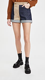 Monse Patchwork Denim and Trouser Shorts