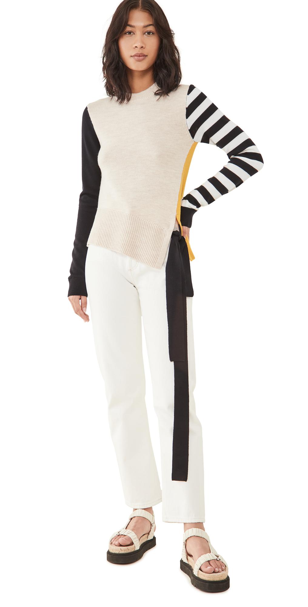 Monse Stripe Sleeve Colorblock Knit Top