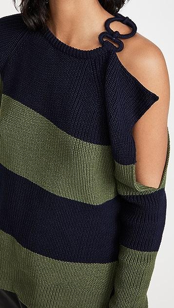Monse 条纹搭扣肩部毛衣