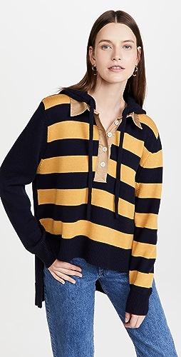Monse - 橄榄球条纹针织连帽上衣