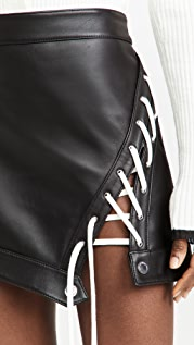 Monse Lace Up Leather Miniskirt