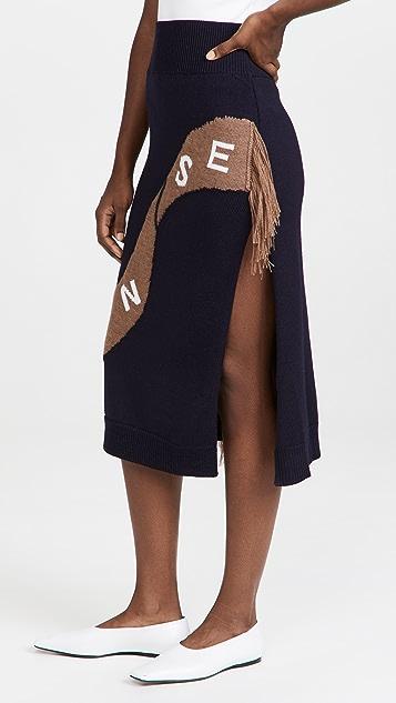 Monse Scarf Intarsia Knit Skirt