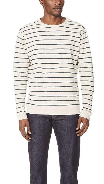 Mollusk Stripe Hemp Crew Sweatshirt