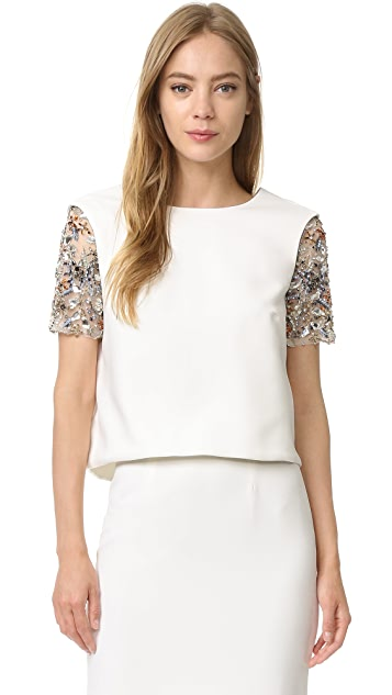 Monique Lhuillier Short Sleeve Top