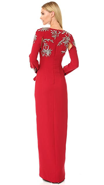 Monique Lhuillier V Neck Gown with Bow Tie Cuffs